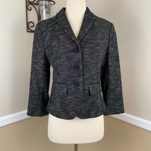 Ann Taylor Wool Blend Tie Back Blazer Jacket Black
